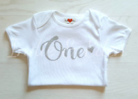 Baby Birthday outfit silver One Vest Smash Photo Prop 1st