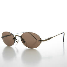 Brown Oval Rimless 90s Minimalistic Vintage Sunglass Bronze- Alpha