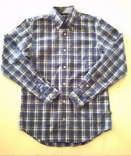 NAUTICA MENS SIZE SMALL LONG SLEEVE SHIRT BLUE/WHITE PLAID EX-COND