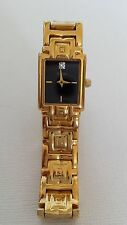 Bulova Ladies Luxe Gold Tone Link Bracelet Blk Diamond Dial Dress Quartz Watch