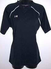 Under Armour Size Large Womens Heat Gear Black Short Sleeve Black with White