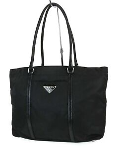 Authentic PRADA Black Nylon and Leather Tote Hand Bag Purse #39154