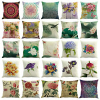 Square Cotton Linen Flower Floral Throw Pillow Case Cushion Cover Sofa Decor