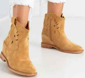 Women Shoes Lace Up Studded Wedge Goth Flat Zip Size Ladies Boots New Suede