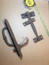 Antique Primitive Lock Door Hand Wrought Iron Slide Bolt Latch Handle Hardware