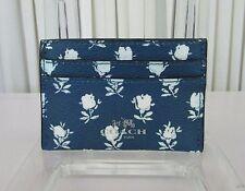 Coach Badlands Blue Floral Card Case ID Holder F63694 NWT GIFT BAG!