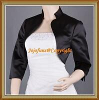 Black Satin Wedding 3/4 Sleeve Shrug/Prom Bolero/Capelet/Coat/Jacket/Cover Up
