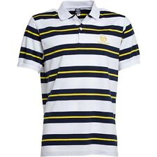 SERGIO TACCHINI MENS EALING MULTI STRIPE POLO WHITE/BLUE/YELLOW – SMALL - BNWT