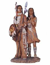 "13"" Inch Indian Couple Girl Indio India North American Statue Figure Figurine"