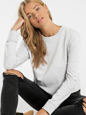 New Nude Lucy Xavier Crop Long Sleeve Bf T Shirt In Grey Marle Womens Tops &
