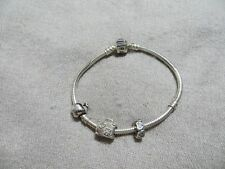 73668e0cf Authentic PANDORA Sterling Bracelet w/2 Retired Beads Charms +Gift Charm