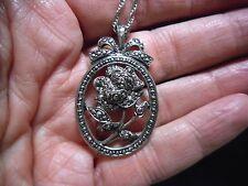 Authentic Vintage AVON 1990's Faux Marcasite Flower Silvertone Pendant Necklace