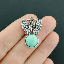 2 Butterfly Pendant Charms Antique Silver Tone with Imitation Turquoise - SC7643