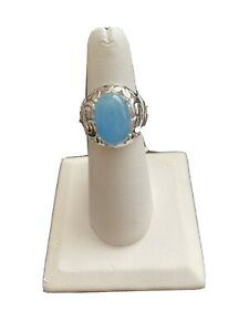 Oval Blue Jadeite Jade Sterling Silver Ring Size 6