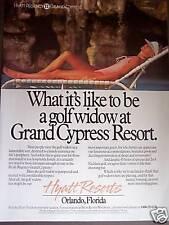 1989 vintage travel promo Ad Hyatt Grand Cypress Resort Florida Golf Widow