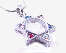 Star Of David Magen Judaica Necklace Pendant Kabbalah Silver Stones Jewish Gift