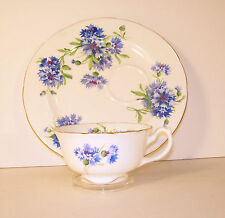 Vintage Hammersley Blue Cornflower Teacup and Snackplate, Snack Saucer