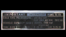Honda SL125 Tire Pressure Decal   SL 125