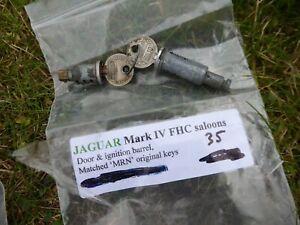 JAGUAR MK1V FHC LOCK BARREL SET FOR DOORS & IGNITION WITH MATCHED MRN KEYS. TF1