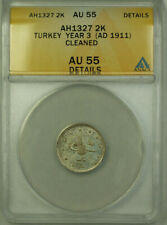 1911 Turkey Year 3 AH1327 Silver 2 Kurus Coin ANACS AU 55 Details Cleaned KM#749