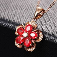 Vintage Rose Gold Chain Natural Ruby Crystal Pendant Necklace Jewelry For Women