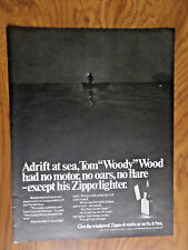 1970 ZIPPO Lighter Ad Tom Woody Wood Adrift at Sea Off the Florida Keys