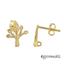 24kt Gold Plated Sterling Silver Tree Stud Post Earrings Connector #99534
