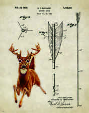 Whitetail Deer Hunting Patent Poster Art Print Antlers Sheds Bow Arrow PAT283