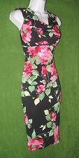 Connected Apparel Black Pink Stretch Jersey Drape Neck Social Work Dress 8 $79