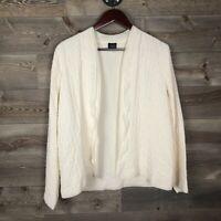 Eileen Fisher M, 100% Silk Cream Ruffled Layer Textured Cardigan Sweater