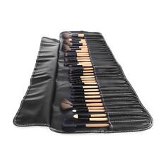32Pcs Wood Professional COSMETIC BRUSH SET Kit & POUCH For Bobbi Brown Makeup