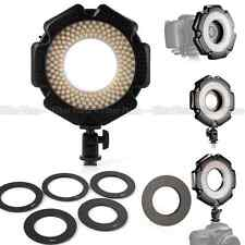 "LED Macro Ring Flash Video DV Light w 6 Rings 1/4""Mount Hot Shoe For DSLR Camera"