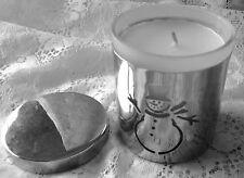 Snowman Metal Cut-Out Pillar Vanilla Candle & Holder Winter Christmas
