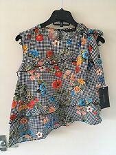 BNWT ZARA Check and Floral Printed Top with Bow Size M