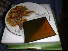 "Avon Plate with Box The Great Oak 5th Anniversary Avon Representative 8 1/2"" Wi"