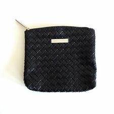NEW bareMinerals Black Intrecciato Woven Faux-Leather Makeup Cosmetic Bag Pouch