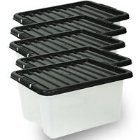 5 X 35L 35 Litre Large Clear Storage Boxes Set Container With Locking Lids
