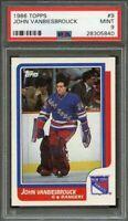 1986-87 topps #9 JOHN VANBIESBROUCK new york rangers rookie card PSA 9