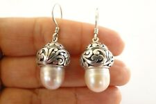 Pearl Ornate Dome 925 Sterling Silver Dangle Hook Earrings