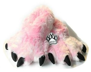 Wild Ones Furry Animal Claw Slippers for Toddlers, Kids and Adults