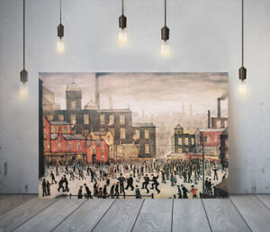 LOWRY STYLE OUR TOWN -FRAMED CANVAS WALL ART PICTURE PAPER PRINT-RED BROWN BLACK