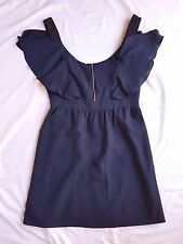AS NEW ASOS Size 12 Dress Navy Blue Off Shoulder Mini Flutter Sleeve Party Races