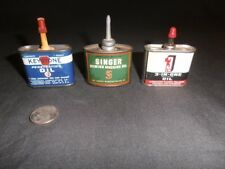 Vtg oil cans (3) Singer sewing machine Keystone penetrating 3 in 1 small