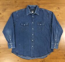 Vtg Wrangler Pearl Snap Denim Shirt Western Mens Xl Faded Distressed 80s 90s