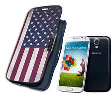 COVER CASE FLIP COMPATIBILE SAMSUNG S4 BANDIERA AMERICANA AMERICA USA BLU SCURO