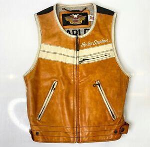 Vintage Harley Davidson Leather Vest Gilet Biker Size L