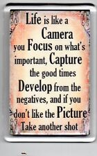 FRIDGE MAGNET Quotes Saying Gift Present Novelty Funny LIFE IS LIKE A CAMERA