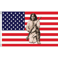 Usa Geronimo Flag 5Ft X 3Ft Native American Indian Banner With 2 Eyelets New