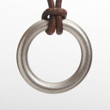 Stainless Steel Ring Surfer Necklace Leather Cord Design by Zulasurfing