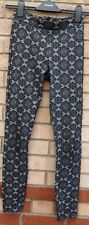 TOPSHOP BAROQUE BOHEMIAN GREY BLACK SKINNY LEGGINGS TROUSERS PANTS 6